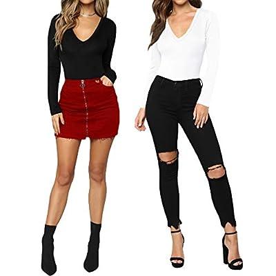 MANGOPOP Womens V Neck Short Sleeve/Long Sleeve Tops Bodysuit Jumpsuit: Clothing