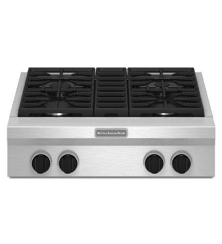 Kitchenaid KGCU407VSS Commercial-Style Gas Cooktop