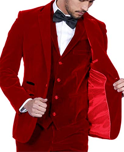 Setwell Velvet Slim Fit Men Suit Groomsmen Tuxedos Wedding Prom Velour Mens Suits 3 Pieces Red