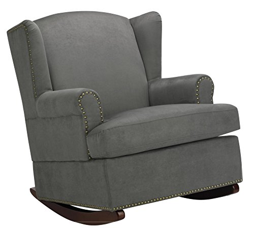 Baby Relax Harlow Wingback Nursery Room Rocker with Nail Heads, Charcoal by Baby Relax
