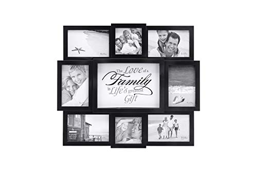 Malden International Designs The Love of a Family Dimensional Collage Black Picture Frame, 8 Option, 6-4x6 & 2-4x4, Black (8308-08)