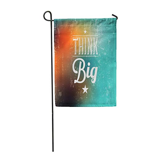 Semtomn Garden Flag 12x18 Inches Print On Two Side Polyester Colorful Word Abstract Typographical Quote Think Big Marketing Home Yard Farm Fade Resistant Outdoor House Decor Flag ()