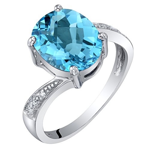 White Gold Genuine Diamond Solitaire - 14K White Gold Genuine Swiss Blue Topaz and Diamond Solitaire Ring 3 Carats Oval Shape Size 6