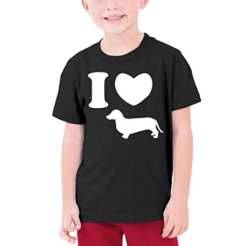 DH4_8J I Heart Wiener Dachshund Dog Junior Boys & Girls Teen Girls Short-Sleeved T-Shirt Black