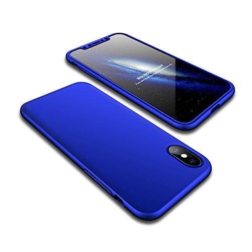 Coque iPhone X, Coque iPhone 10 360 Degree Antichoc Protection PC 3 en 1 Anti-Scratch Full Body Cover Adamark Housse Integrale Bumper Etui Case Protège Écran en Verre Trempé Pour iPhone X/10(2017) Bleu