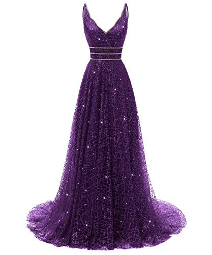 YARIVI Long Prom Dresses Beaded Deep V-Neck Sparkling Tulle Party Evening Gown 2019 Grape 26