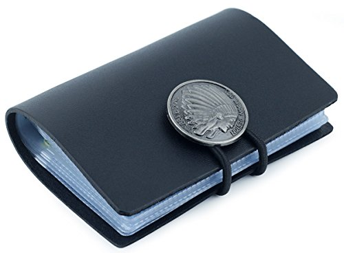 DPOB Leather Credit Card Holder-Credit Card Protector Plaid Case-Business Card Holder with 24 Card Slots (Black)
