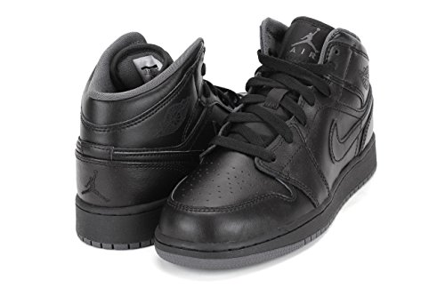Black Jordan Shoes (Jordan Air 1 Mid Youth US 6 Black Basketball Shoe)