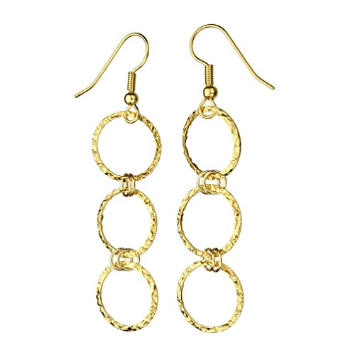 24k Gold-Flashed Sterling Silver Flat Hammered Circle Links Long Earrings Italy (24k Gold Drop)