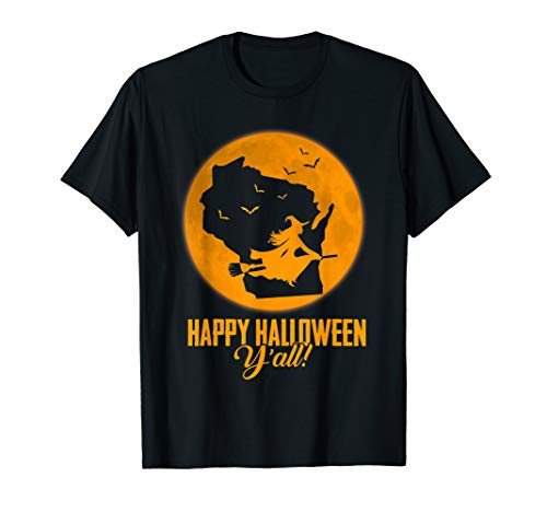 Happy Halloween Y'all Wisconsin Witch Map T-shirt