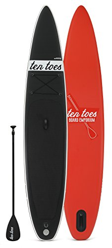 Ten Toes Boards Ten Toes Board Emporium Jetsetter Inflatable Stand up Paddle Board Bundle, Black/Red, X-Large/14-Feet