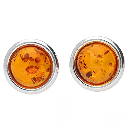 COGNAC BALTIC AMBER GEMSTONE & STERLING SILVER 925 CLIPS-14mm KAB-67