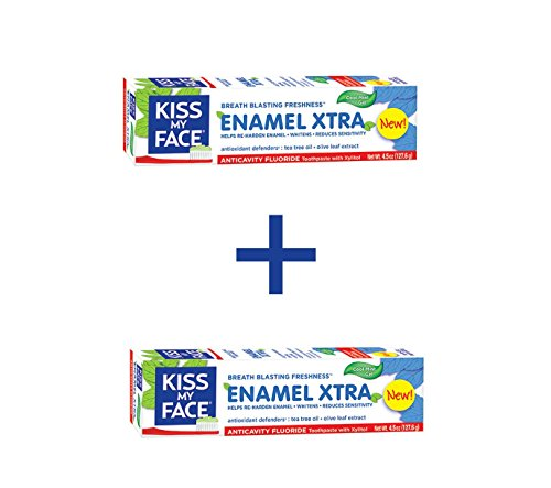 Kiss My Face Enamel Xtra Whitening Gel Toothpaste With Anticavity Fluoride, Cool Mint, 4.5oz (Pack of 2)