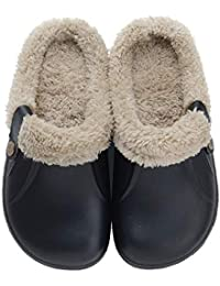 Clog Slippers Fluffy Fleece Lined Winter Indoor Outdoor Non-Slip House Home Slip on Garden Shoes Men Women