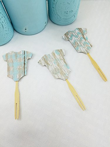 Baby Boy Cupcake Toppers 12 CT - Blue Onesie Toppers - Baby Boy Baby Shower - Onesie Cupcake - Food Picks - Appetizer Picks - My Fall Day