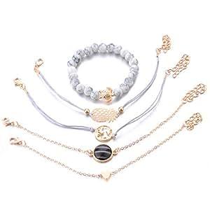 LALANG Bohemian Turtle Pineapple Heart Map Charm Bracelets Bangles for Women Gifts