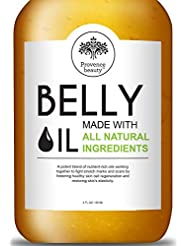 Belly Oil for Pregnancy and Stretch Marks - All Natural Scar Prevention and Reduction Therapy, and Uneven Skin Tone - Safe for Use During and Postmortem - Dermatologist Recommended - 4 Fl Oz
