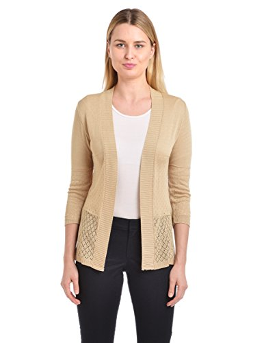 Knit Minded Junior's Pointelle ¾ Sleeve Flyaway Diamond Cardigan, Stone, ()