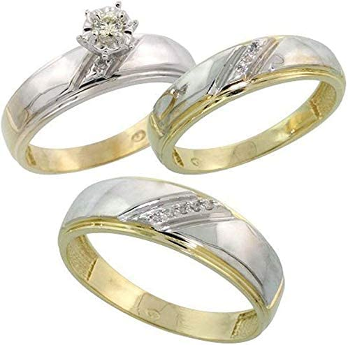 Triostar 14K Two-Tone Gold Over 1/10 Ct Diamond His & Hers Trio Engagement Wedding Bridal Ring Set