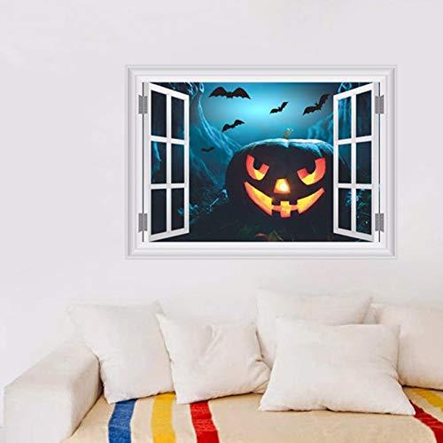 Fake Window Scared bat Sky Pumpkin Head Wall