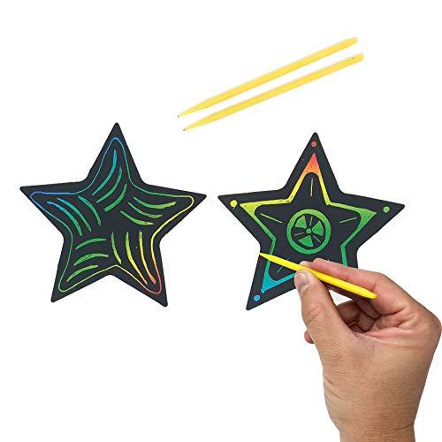 50 Piece Scratch Art Star Craft Kit - Christmas Ornament Crafts for Kids