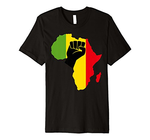 Mens Africa Black Power Africa Map Fist African T-Shirt XL Black by African Pride Teez