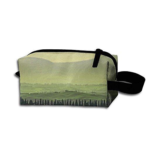 Panorama Landscape (Landscape Panorama Sunset Evening Fog Cosmetic Bag Zipper Storage Bag Portable Ladies Travel Bag)
