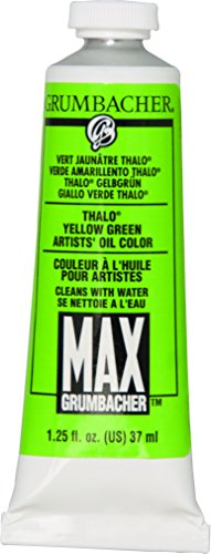 Grumbacher Max Water Miscible Oil Paint, 37ml/1.25 oz, Thalo Yellow - Max Grumbacher Water