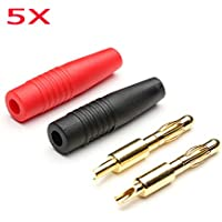 New 5 pair AMASS 4MM Gold Plated Banana Plug Bullet Connectors Charger Adapters By KTOY