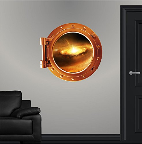 24'' COLORED PORTSCAPE Orange Instant Space Ship Window View STELLAR NURSERY #1 Porthole Graphic Sticker Children Mural by Stickit Graphix