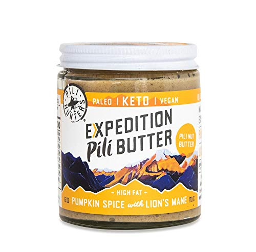PILI HUNTERS The Original Pumpkin Spice Pili Nut Butter Spread with Lions Mane, Keto, Paleo, Vegan, Low Carb Energy, No Sugar Added, Ketogenic Fat, Ketosis Superfood, NO Gluten/Soy/Dairy, (6 oz. Jar)