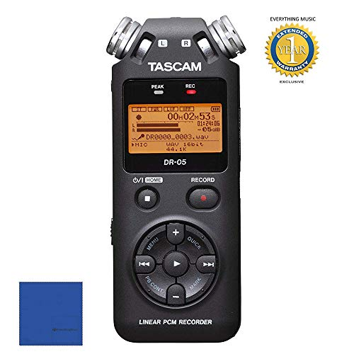 Tascam DR-05 Portable Handheld Digital Audio Recorder Black with 1 Year Free Extended Warranty