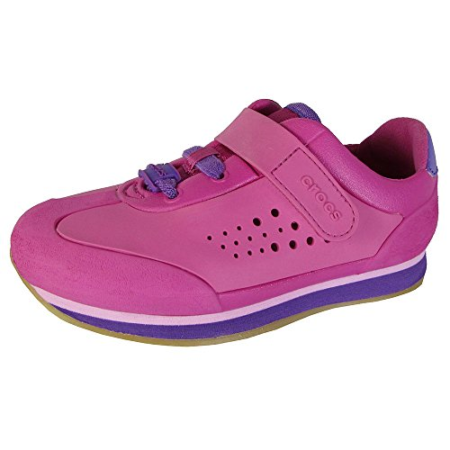 (Crocs Kids Retro Molded Sneaker Shoes, Fuschia/Neon Purple, US 7 Toddler)