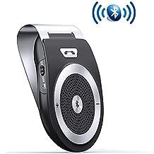 Aigital Bluetooth Car Kit Speakerphone Wireless AUTO POWER ON Handsfree Visor Speaker, HD Audio Adapter for Hands-Free Calling Music GPS Navigation - Black