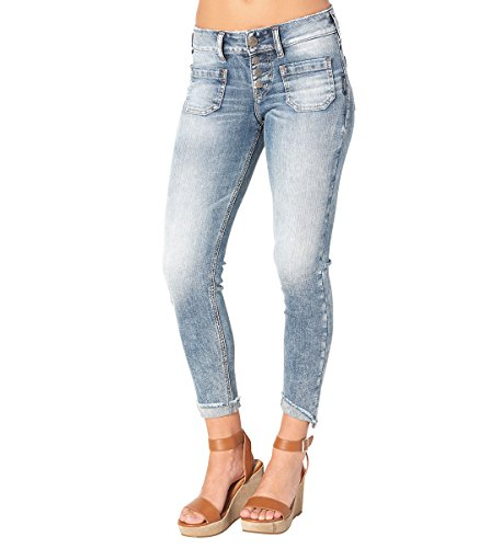 Co Stretch Denim Button Front (Silver Jeans Co. Elyse Chop Pocket Crop Jeans 29)