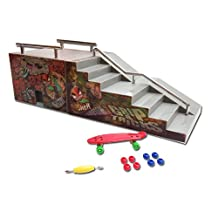 Grip & Tricks - RAMPS FOR FINGER SKATE - FUNBOX AND STAIRS - Fingerboard - Penny Board : Dimensions: 28 X 12 X 10 cm