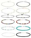 Wremily 4-12 Pieces Beaded Choker Necklaces for
