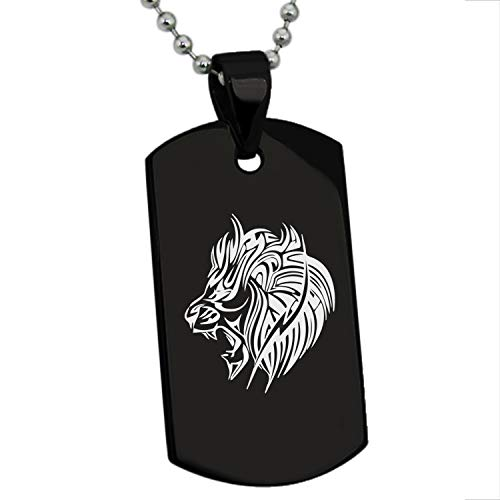 (Black Stainless Steel Tribal Lion Dog Tag Pendant Necklace)