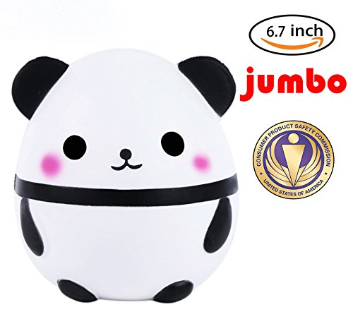 Dialeesi Squishies Slow Rising Jumbo Cute Panda - Kawaii Squeeze Toy Pack 6.7 inch | Soft and Cream Scented Stress Reliever for Kids