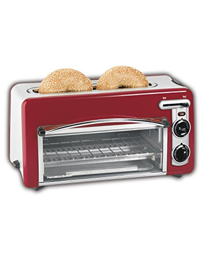 Hamilton Beach Toastation Oven with 2-Slice Toaster Combo, Ideal for Pizza, Chicken Nuggets, Fries and More (22703H), Red