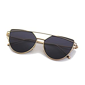 Mirrored Sunglasses for Women Cat Eye,Premium Flat Lens Sunglasses Metal Frame with 100% UV Protection Youth