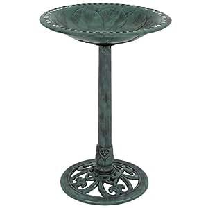 Best Choice Products Outdoor Garden Pedestal Bird Bath Vintage Decor - Green