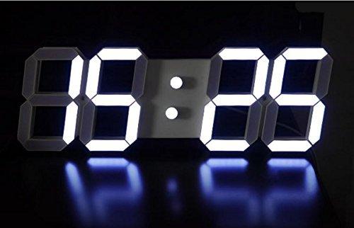 [sealche] LED ウォールクロック LEDデジタル時計 壁掛け時計 置き時計 インダストリアル 男前 インテリア 文字盤 大型 クール おしゃれ デザイン 【暗闇で文字だけが浮かび上がる】 ホワイト B07CVD1P6G白