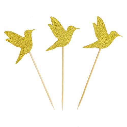 - Monrocco 20 Pack Gold Glitter Hummingbird Cupcake Topper Bird Cupcake Picks for Birthday Weddings Decoration