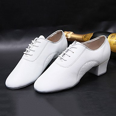 Latin Shoes Leather Modern White Chunky Heel Sneakers Leather Customizable Non Women's Dance Practice CpnqY