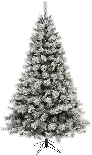 Fraser Hill Farm 7.5-Ft Homestead Pine Frosted Christmas Tree with Pinecones and Berries and Metal Stand, Green (Christmas Farm Berry Tree)