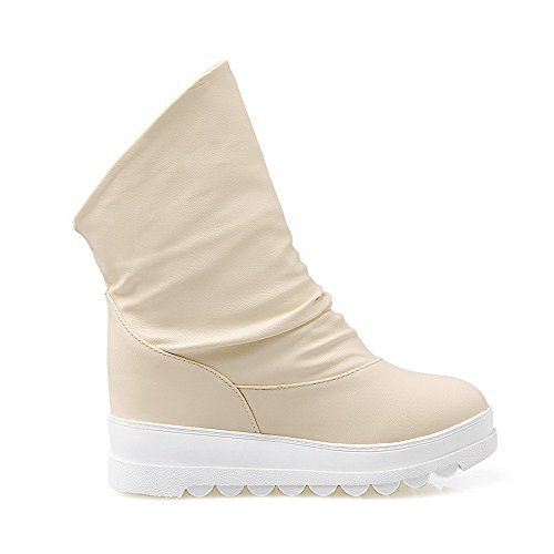Solid AgooLar con Kitten cerrada Pull redondas punta botas On Heels beige PU BwwdRq7
