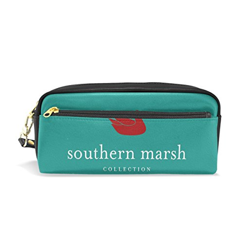 LEISISI Southern Marsh School Pencil Bag PU Leather Stationery Pouch Case Women Cosmetic Bag Large - Marsh White Hours