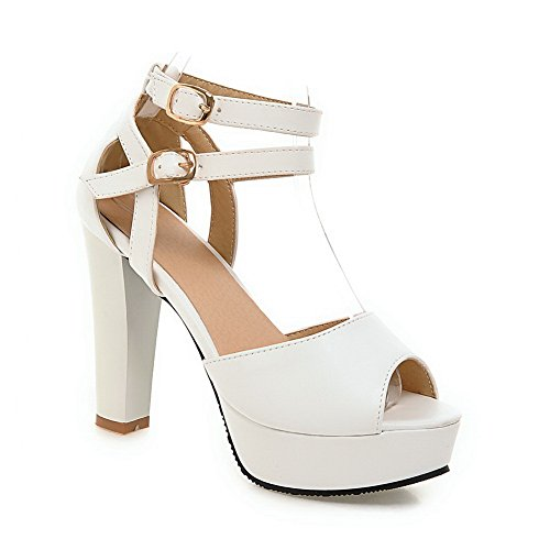 Polyurethane Sandals Engagement Peep Toe Classic 1TO9 Womens White wqXAfYB1