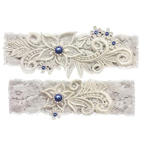 Wedding Garter Set Lace Garters Belt Bride Women White Blue Garter Size Optional (Blue White, Medium)